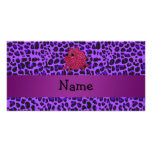 Personalized name glitter pig purple leopard custom photo card