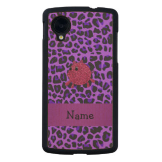 Personalized name glitter pig purple leopard carved® maple nexus 5 case