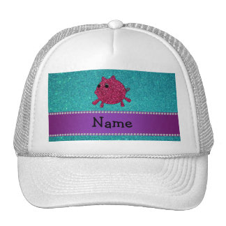 Personalized name glitter pig turquoise glitter hat
