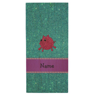 Personalized name glitter pig turquoise glitter wood USB 2.0 flash drive
