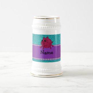 Personalized name glitter pig turquoise glitter mugs