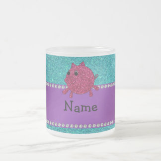 Personalized name glitter pig turquoise glitter coffee mug