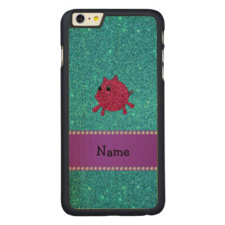 Personalized name glitter pig turquoise glitter carved® maple iPhone 6 plus case
