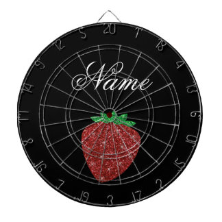 Personalized name glitter strawberry black dartboard with darts