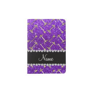 Personalized name gold arrow indigo purple glitter passport holder