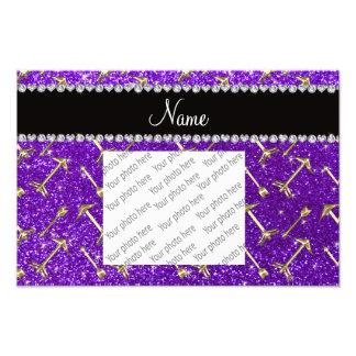 Personalized name gold arrow indigo purple glitter photo print