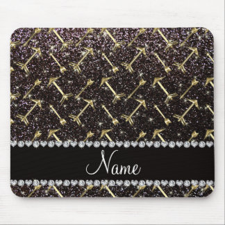 Personalized name gold arrows black glitter mouse pad