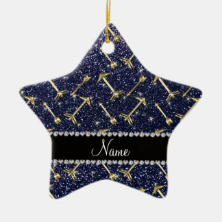 Personalized name gold arrows navy blue glitter ceramic star decoration