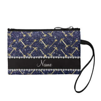 Personalized name gold arrows navy blue glitter coin purses
