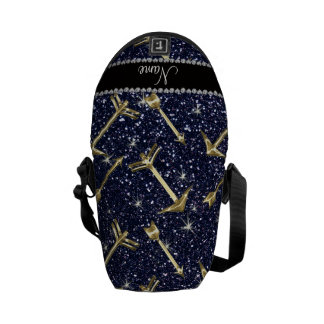 Personalized name gold arrows navy blue glitter courier bag