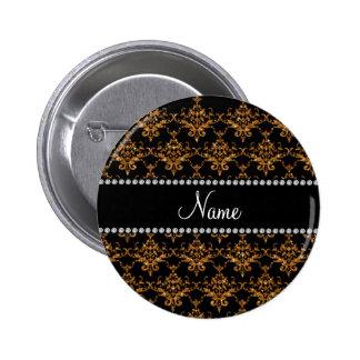 Personalized name gold damask 6 cm round badge