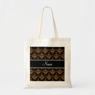 Personalized name gold damask canvas bag