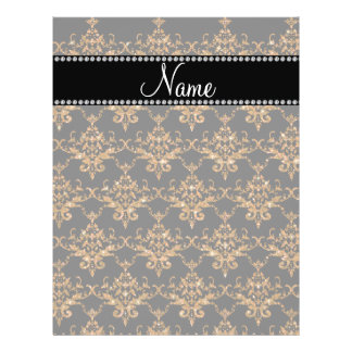 Personalized name gold damask full color flyer