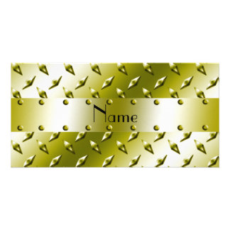 Personalized name gold diamond plate steel photo card template