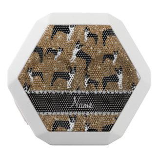 Personalized name gold glitter boston terrier white boombot rex bluetooth speaker