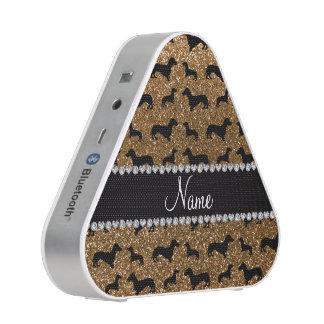 Personalized name gold glitter dachshunds