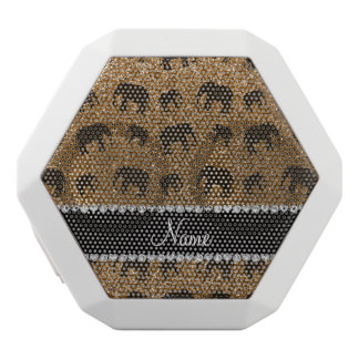 Personalized name gold glitter elephants white boombot rex bluetooth speaker