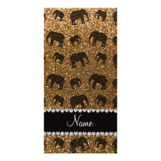 Personalized name gold glitter elephants picture card