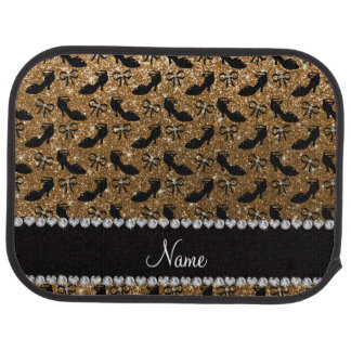 Personalized name gold glitter fancy shoes bows car mat