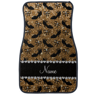 Personalized name gold glitter fancy shoes bows floor mat