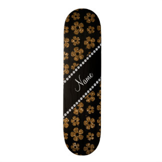 Personalized name gold glitter flowers 21.6 cm skateboard deck