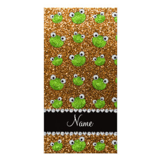 Personalized name gold glitter frogs photo cards