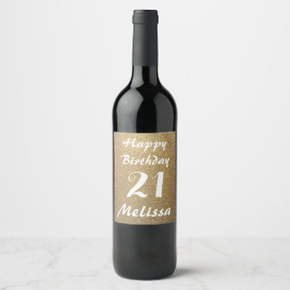 Personalized Name Gold Glitter Happy Birthday Wine Label