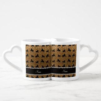 Personalized name gold glitter horses lovers mug