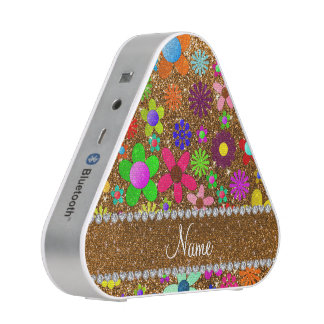 Personalized name gold glitter retro flowers