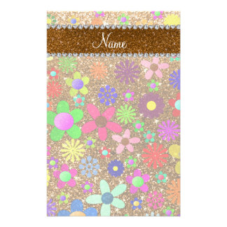 Personalized name gold glitter retro flowers stationery paper