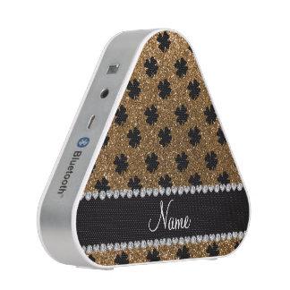 Personalized name gold glitter shamrocks speaker