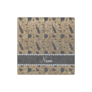 Personalized name gold glitter wine glass bottle stone magnet