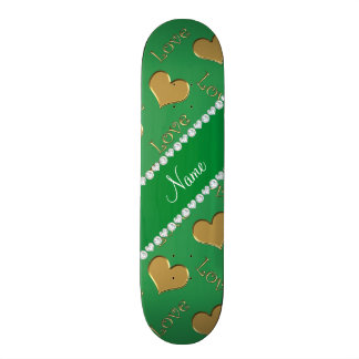 Personalized name gold green hearts love custom skate board