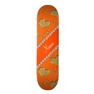 Personalized name gold orange hearts love custom skate board