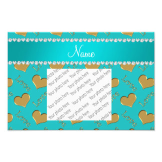 Personalized name gold turquoise hearts love photo art
