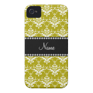 Personalized name gold yellow damask iPhone 4 Case-Mate case