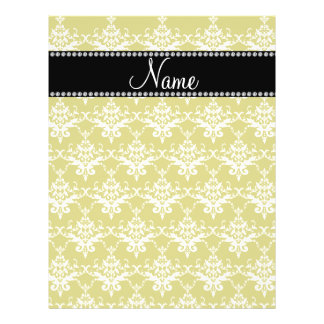 Personalized name gold yellow damask flyers
