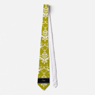 Personalized name gold yellow damask necktie