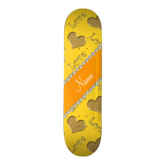 Personalized name gold yellow hearts love skate board