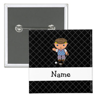 Personalized name golf player black criss cross 15 cm square badge