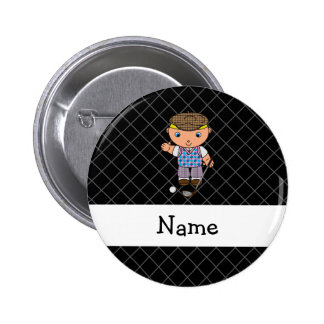 Personalized name golf player black criss cross 6 cm round badge