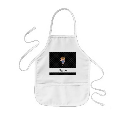 Personalized name golf player black criss cross apron