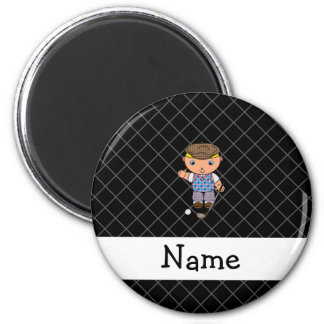 Personalized name golf player black criss cross fridge magnet