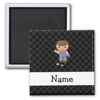 Personalized name golf player black criss cross magnets