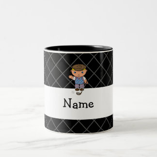 Personalized name golf player black criss cross mug