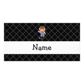 Personalized name golf player black criss cross picture card