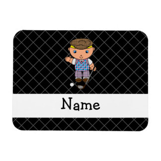 Personalized name golf player black criss cross rectangular magnet