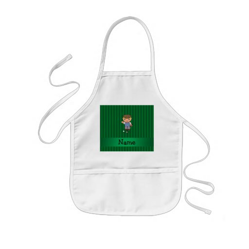 Personalized name golf player green stripes aprons