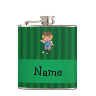 Personalized name golf player green stripes hip flask