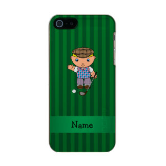 Personalized name golf player green stripes incipio feather® shine iPhone 5 case